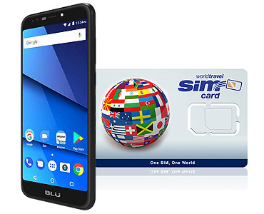 BLU G5 2G/3G/4G/LTE & WorldTravelSIM card with Voice, Text, Data + WiFi + Email + GPS + Web and more