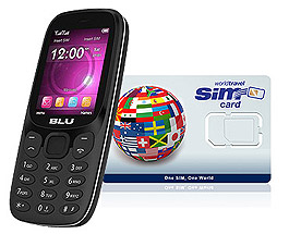 BLU Z4 2G Phone and WorldTravelSIM + Voice + Text