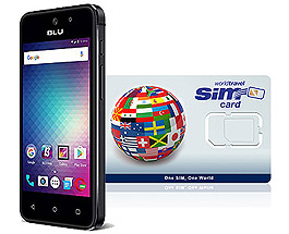 BLU Advanced L5 2G/3G/4G & WorldTravelSIM card with Voice, Text, Data + WiFi + Email + GPS + Web and more