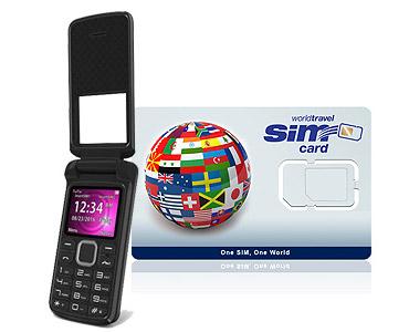 World Flip Phone FLEX 2G/3G & WorldTravelSIM card + Voice + Text