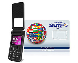 World Flip Phone FLEX 2G/3G & WorldTravelSIM card + Voice + Text